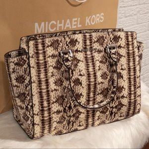 Michael Kors Bags - NWT Michael Kors Selma Natural Snakeskin L Satchel